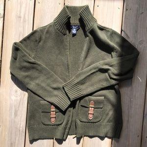 Chaps Green Zip-Up Cardigan